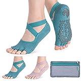 Hylaea Yoga Socks for Women with Grip & Non Slip Toeless Half Toe Socks for Pilates Ballet Barre Dance Kickboxing