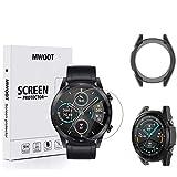 MWOOT Compatibile con Honor MagicWatch 2 46mm Smart Watch Pellicola Protettiva Vetro e Custodie Protezione in Silicone [2+1], Anti Graffi Pellicole Protettive per Protezione dello Schermo - Nero