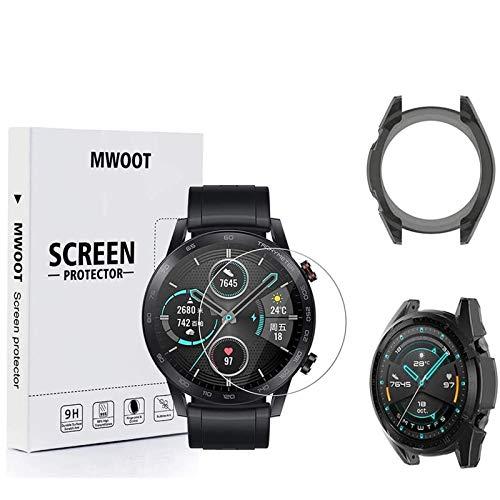 MWOOT Panzerglas Schutzfolie Kompatibel mit Honor Magic Watch 2 Smartwatch 46 mm (2Stk) & Schwarz Gehäuse Schutzhülle für Huawei Watch Schutz, [9H Festigkeit 2.5D] Kratzfest Bildschirmschutz Schutzglas
