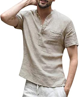 Realdo Mens Button Down Shirt,Cotton Linen,Men's Casual Solid Color Short Sleeve Retro T Shirts Tops with Pocket