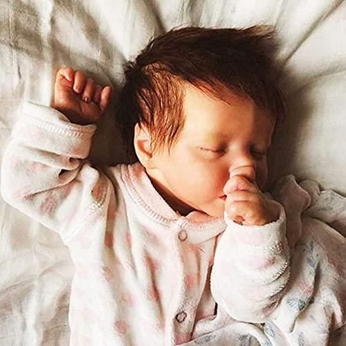 YANE Reborn Baby Doll Ragazza Addormentata 18 Pollici 46Cm Bambola Neonato Realistica in Silicone per Tutto Il Corpo per Bambini dai 3 Anni in su
