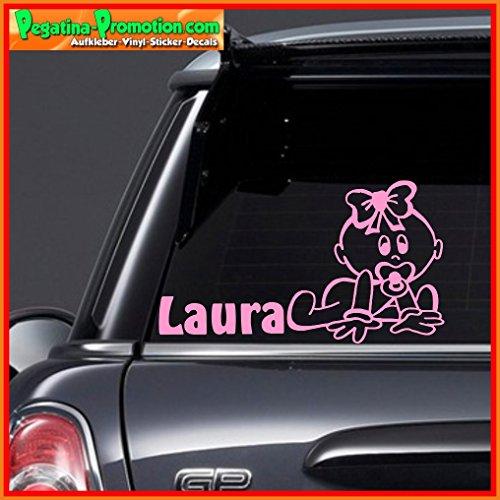 """Hochwertiger Namens Aufkleber \"""" Laura \"""" Autoaufkleber Name Aufkleber Wandtattoo Aufkleber für Glas,Lack,Tür und alle glatten Flächen, viele Farben zur Auswahl,Auto Sticker Baby an Bord, Kindername,Namensaufkleber"""