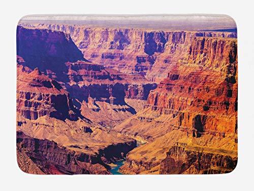 ABAKUHAUS Americano Tapete para Baño, Gran Cañón Ver EE.UU, Decorativo de Felpa Estampada con Dorso Antideslizante, 45 cm x 75 cm, marrón