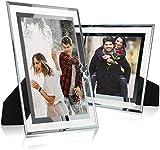 Yieach Marco de fotos de cristal de 5 x 7, plateado espejo para soporte de fotos en la mesa, paquete de 2 (8 x 10 unidades)