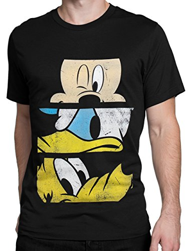 Disney - Camiseta para Hombre Mickey Mouse Pato Donald Pluto - Talla Large