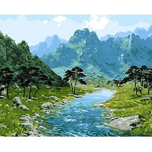CUNYA Bild Berglandschaft DIY Gemälde nach Zahlen Moderne Wandkunst Acryl Leinwand Gemälde für Wohnkultur 40x50cm
