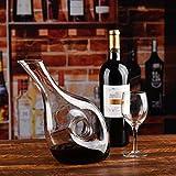Cooko Wein Dekanter, Premium Kristall Wein Belüften Karaffe, Bleifreie Weinkaraffe, Handgemacht Wein Zubehör in Schräge Form mit 1200 ML - 4