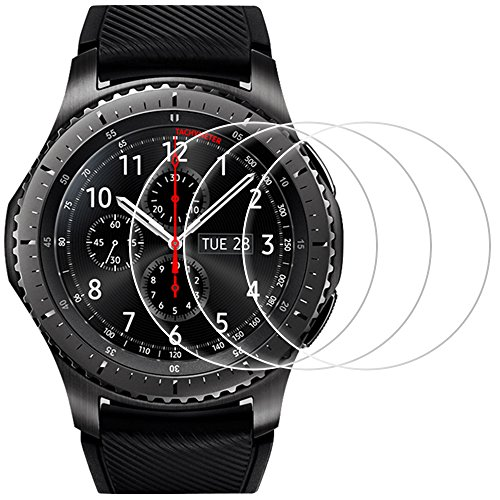 AFUNTA Protectores de Pantalla para Samsung Gear S3 Frontier Classic, 3 Paquetes Vidrio Templado Película Anti - arañazos Escudo de Alta Definición para Smartwatch
