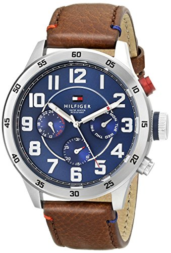 Tommy Hilfiger Relógio masculino 1791066 de aço inoxidável com pulseira de couro marrom