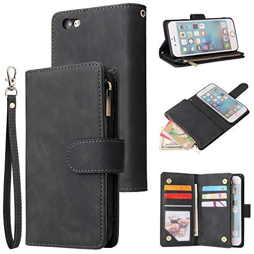 UEEBAI Wallet Case for iPhone 6 Plus iPhone 6S Plus, Premium Vintage PU Leather Magnetic Closure Handbag Zipper Pocket Case Kickstand Card Holder Slots with Wrist Strap TPU Shockproof Flip Cover-Black