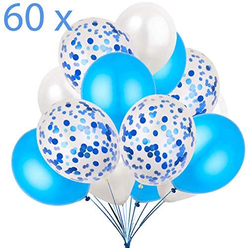 60 Luftballons Blau Weiß und Konfetti Ballon Premiumqualität Partyballon Deko Hellblau Dekoration fur Geburtstag , Baby Dusche Party, Baby Shower