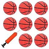 DEWEL 8pcs Mini Pelota para Baloncesto Juego de Oficina y casa, Pelota Baloncesto Incluyendo Inflador, Juguetes para niños