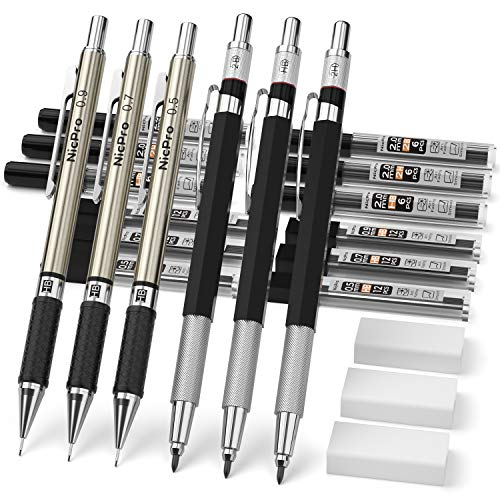 Nicpro 6PCS Mechanical Pencils Set, 3 PCS Metal Drafting Pencil 0.5 mm & 0.7 mm & 0.9 mm and 3 PCS 2.0 mm Graphite Lead Holder (2B HB 2H) For Writing,Sketching Drawing,With 12 Tubes Lead Refills