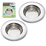 Product Image of the Fengbao 2PCS Kitchen Sink Strainer - Stainless Steel, Large Wide Rim 4.5' Diameter