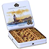 EXPERIENCE THE DELICIOUS TASTE OF GOURMET BAKLAVA SWEETS ASSORTMENT : Witness The Original, Mouth Watering And Pure Baklava Taste - A gourmet selection of six variety arrangement of fresh & delicious handmade bite-sized pastries including Kadaifi Wit...
