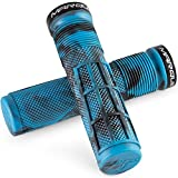 DASFOND Marque Race Mountain Bike Handlebar Grips – Single Lock-On Ring Collar MTB and BMX Bicycle Handle Bar with Non-Slip Grip, Knurly Gritty Pattern and Half Waffle Pattern