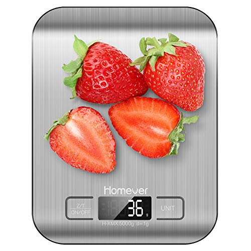 Homever Digitale Küchenwaage, Küchenwaage mit Tara-Funktion und Küchenanzeigefunktion,Genauigkeit bis zu +/- 1 g, maximales Gewicht 5 kg, automatische Abschaltung, Edelstahl