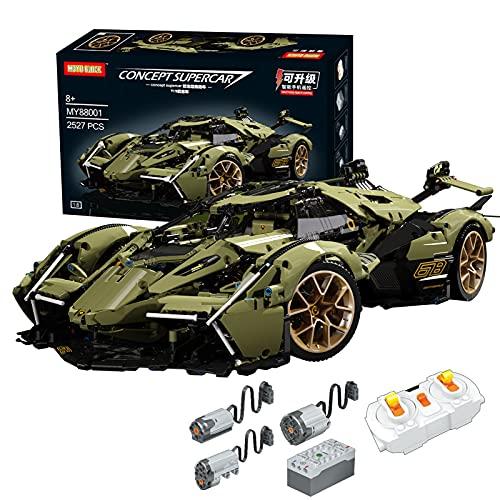 Technik 1: 8 Lambo Veneno Super Car Modell Spielzeug Baukästen, ferngesteuertes Auto für Jungen und Erwachsene, Bausteinsätze kompatibel mit Lego Technic (2533Pcs)