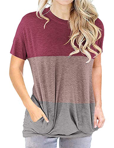 Short Sleeve Round Neck Pocket Shirts for Women Loose Tunic Blouse Tops #2Wine Red M