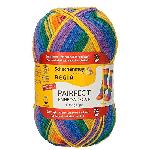 REGIA 6-fädig Rainbow Color 9801173-02770 rain Handstrickgarn, Sockengarn, 150g Knäuel