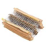QKP 860pcs 1 Ohm-1M Ohm 1 / 4W Resistores De Película De Carbono Surtido Kit Set 43 Valores Totales Componentes Electrónicos