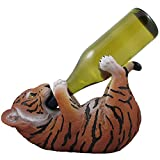 Drinking Orange Bengal Tiger Cub Wine Bottle Holder Sculpture in African Jungle Safari Bar Decor and Decorative Tabletop Wine Stands & Racks As Funny Gifts for Wild Animal Lovers
