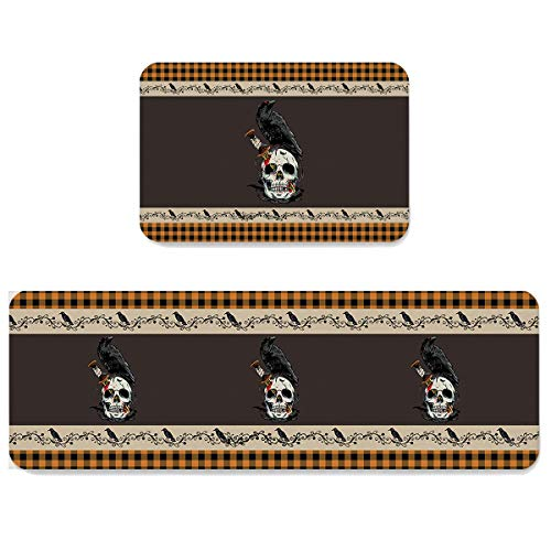 2 Pieces Kitchen Rug Set Non-Slip Backing Mat Throw Rugs Doormats Halloween Skull Knife Crow Absorbent Area Runner Carpet for Bathroom Orange Black Checker