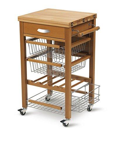ARREDAMENTI ITALIA Küchenwagen GASTONE, Holz - Bestückte Arbeitsfläche - Ausklappbar - Farbe: Kirsche Holz AR-It il Cuore del Legno