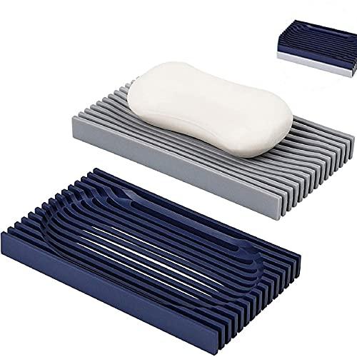 Ayxnzjsjm 2 jaboneras, soporte de jabón prémium con barra de vaciado automático para la ducha, flexible y duradera, fácil de limpiar.