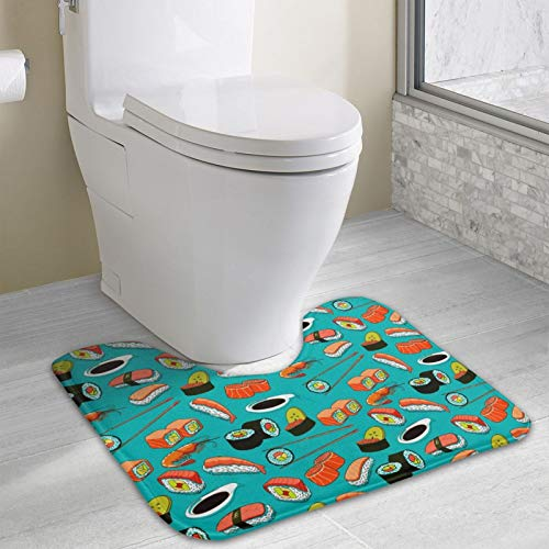 NiYoung Bathroom Rug Non Slip Bath Mat Water Absorbent Soft Microfiber Shaggy Bathroom Mat Machine Washable Bath Rug for Powder Room, Seafood Sushi Prawn Wasabi Japanese