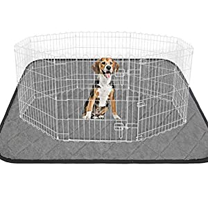 """LUFFWELL Washable Extra Thick Dog Pee Pad, 72""""72"""" Super Large Absorbent Puppy Training Pad, Reusable Whelping Pads No Leakage, Waterproof Dog Mat Non-Slip Potty Rugs for Dog Playpen, Crate, Kennel"""