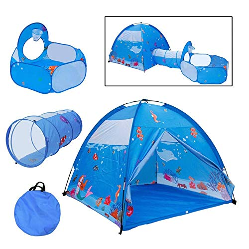 SDERF 3pc Ocean World Kids Play Tent,Tunnel/Ball Pit with Basketball Hoop Indoor Outdoor Tent Great Game/Toy Gift for Children Fun