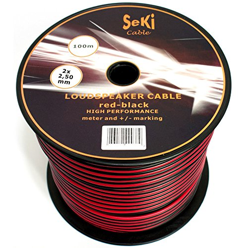 Cable para Altavoz (2x 2,5mm²–Rojo/Negro–Bobina de...