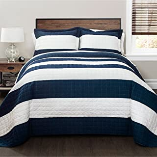 navy and white queen bedding