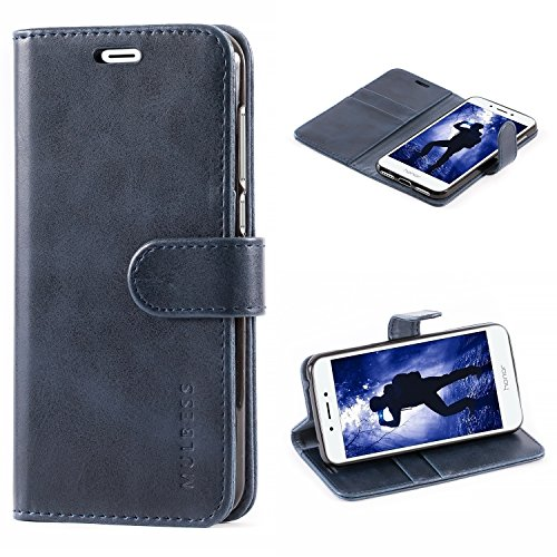 Mulbess Handyhülle für Huawei Honor 6a Hülle Leder, Honor 6a Handytasche, Vintage Flip Schutzhülle für Huawei Honor 6a Hülle, Navy Blau
