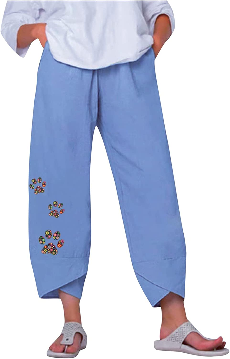 Outlet sale feature 2021 spring and summer new Wabtum Summer Pants for Women Cotton Lin Casual Women's Printing