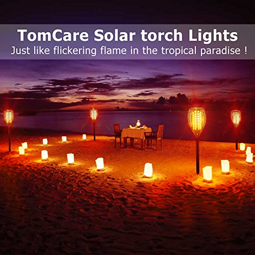 TomCare Solar Lights Upgraded, Waterproof Flickering Flames Torches Lights Outdoor Solar Spotlights Landscape Decoration Lighting Dusk to Dawn Auto On/Off Security Torch Light for Patio Driveway (4)