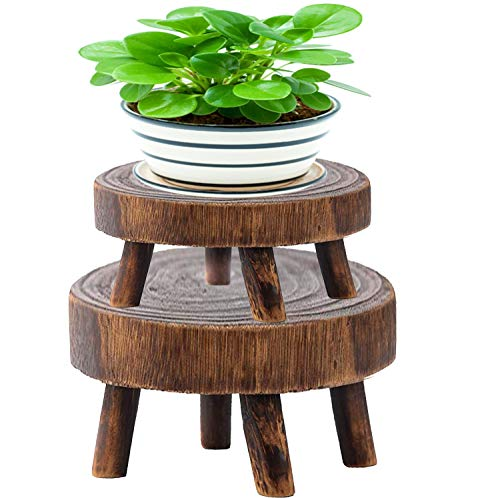 Pack of 2 Mini Wooden Stool Display Stand- Brown Flower Shelf Bonsai Rack Garden Plant Pot Riser Holder Round Decorative Plant Stand with Wood Grain for Indoor Outdoor Home Patio Decoration (S, M)