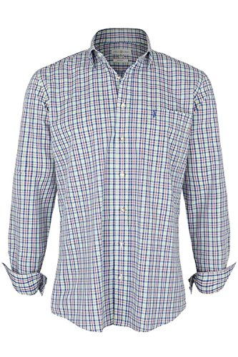 Almsach Herren Hemd kleinkariert Royalblau rot grün, royal, XXL