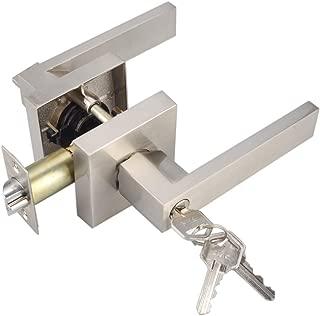 Keyed Entry Lever Lock for Exterior Door and Front Door Heavy Duty Lever Door Lock Handle Satin Nickel Finish HTL01-SN-ET-1P