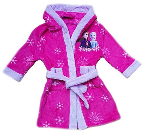 Frozen Eiskönigin Bademantel mit Kapuze Mädchen Morgenmantel pink (110)