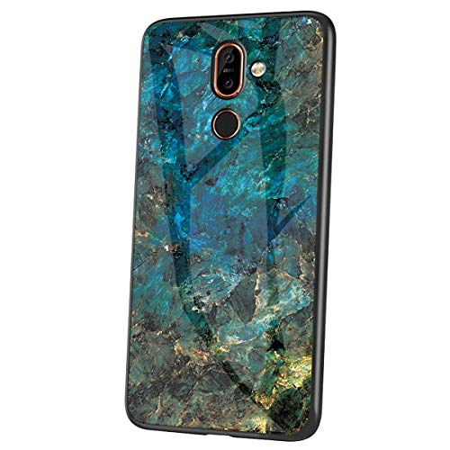 JAWSEU Kompatibel mit Nokia 7 Plus Hülle Marmor Muster Gehärtetes Glas Handyhülle Rückschale mit Silikon Hülle TPU Bumper Schutzhülle Stoßfest Glashülle Hülle Tasche für Nokia 7 Plus,Grün