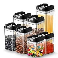 myguru set di contenitori alimenti barattoli plastica contenitore ermetico con coperchio conservazione cibi spaghetti, caffè, farina, cereali senza bpa - (4 taglie: 1,9l; 1,2l; 0,8l; 0,5l) - 7 pezzi