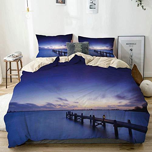 Juego de funda nórdica beige, paisaje de una tranquila puesta de sol sobre el lago y terraza en los Países Bajos Northern Horizon, juego de cama decorativo de 3 piezas con 2 fundas de almohada Easy Ca