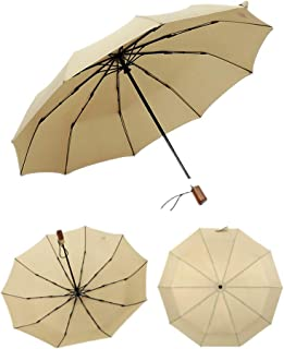Women Printed Compact Three-Folding Umbrella Portable Windproof Rainproof Umbrella