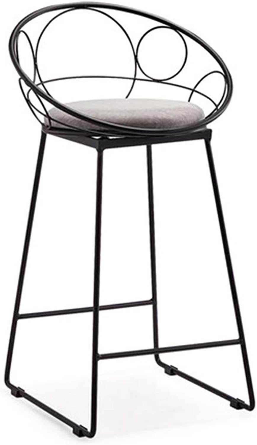 ZUOANCHEN Barstools Retro Dining Chair Metal Vintage Rustic Designer Kitchen Pub Bar Designer Stool Industrial Style Linen Breathable Cushion 2 PCS (color   B, Size   One)