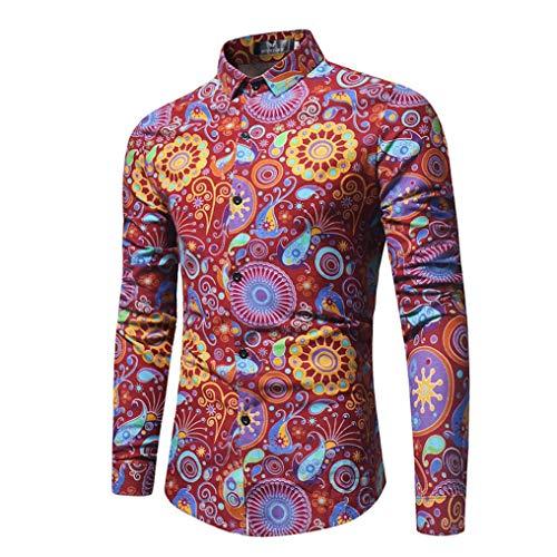 Tops Hommes, Toamen Chemise imprimée à manches longues Pour des hommes Tops imprimé Mode Multicolore (M, rouge)