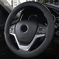 JINRYIGK 車のステアリングホイールカバー ユニバーサルカーステアリングホイールカバー37-38CM人工皮革ステアリング-ホイールカバー通気性ファブリックブレードオートアクセサリー、ブラック