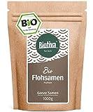 Flohsamen 1kg, ganz (1000g, Bio) I Premium Qualität mit 99% Reinheit I Wiederverschließbarer Frischebeutel I Lactosefrei und Glutenfrei I Abgefüllt in Deutschland