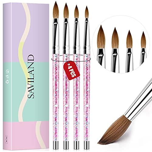 Saviland Acrylic Nail Brush Set - 4pcs Professional Acrylic Brush Set for Acrylic Powder Application 3D Nail Carving, Nail Art Brushes with Liquid Glitter Handle Size 4, Size 6, Size 10, Size 14